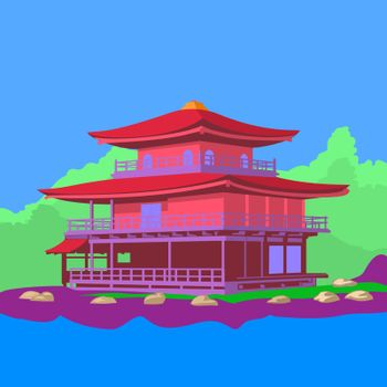 Japanese house on the lake around with green forest