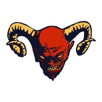 Red Devil head vector design, vector illustration