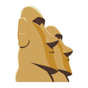 Moai Monolithic Statues Polynesia Easter Islands, vector illustration