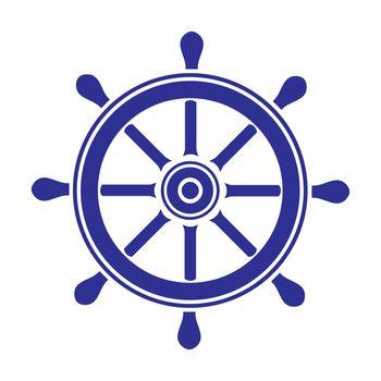 Helm wheel on white background. Vector illustration.