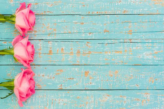 Romantic pink rose flowers side border on pastel blue wooden background with copy space