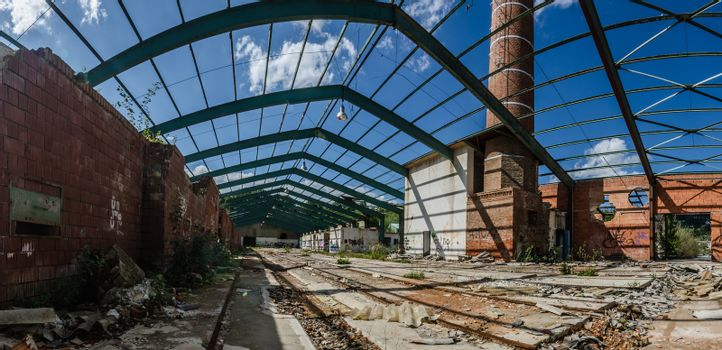 roof from steel of a factory panorama view