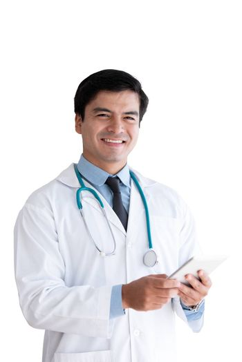 A senior doctor isolated has holding tablet isolated on white background.