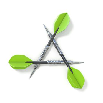 Three green darts 3D render illustration isolated on white background