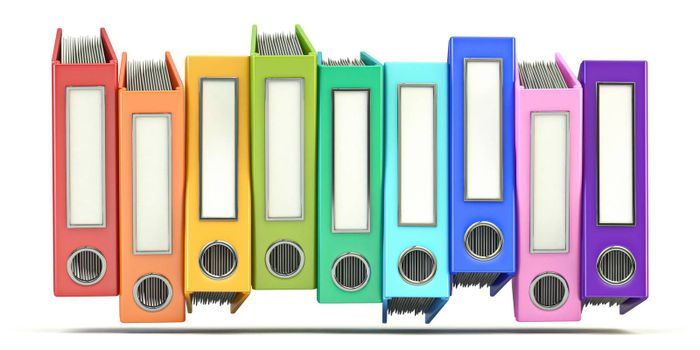 Multi colored office folders bunch 3D render illustration isolated on white background