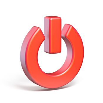 Red power switch sign 3D render illustration isolated on white background