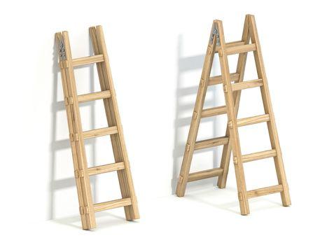 Wooden ladder 3D render illustration isolated on white background