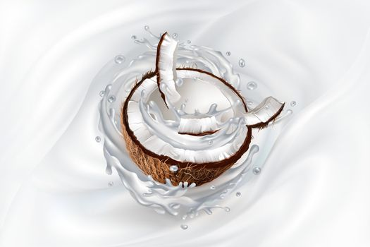 Coconut pieces on a splashing milky background. Realistic vector illustration.