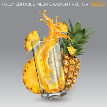 Composition of whole and sliced pineapple and a splash of juice in a transparent glass. Realistic vector illustration.