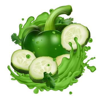 Composition with cucumber and pepper in splashes of green juice on a white background. Realistic vector illustration.