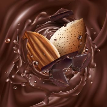 Almonds and chocolate pieces on a liquid chocolate background. Realistic vector illustration.