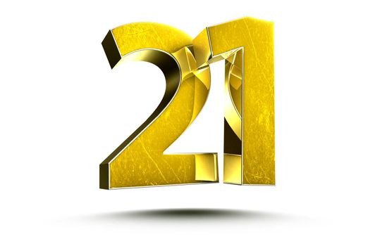 3D illustration Golden number 21 isolated on a white background.(with Clipping Path).