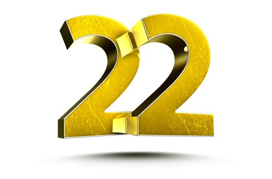 3D illustration Golden number 22 isolated on a white background.(with Clipping Path).