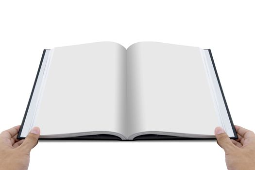 Hand opening white journal with blank pages mockup - magazine te