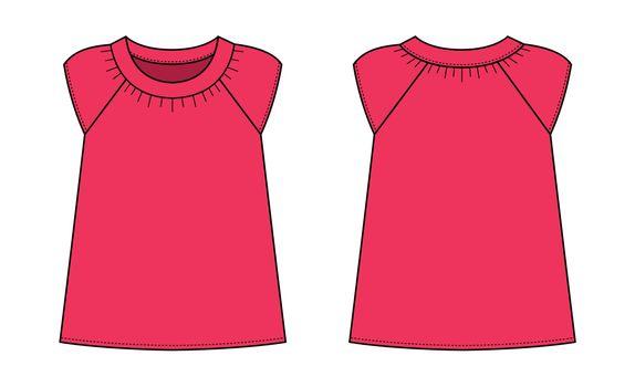 women's short sleeve shirt (puff sleeve shirt) template illustration