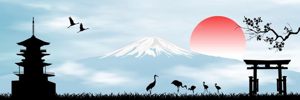 Landscape with Mount Fuji. Rising Sun. Blue sky. Japanese pagoda, sakura branch, gate and birds.