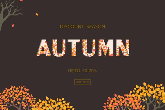 Autumn or Fall background with discount text for shopping promotion,poster,leaflet,banner,flyer or website,vector illustration