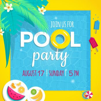 Pool party invitation vector illustration tamplate with swimming pool background