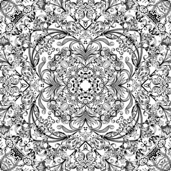Vector abstract ethnic nature hand drawn ornamental background. Black and white seamless pattern