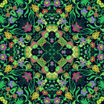 Vector abstract ethnic nature hand drawn ornamental background. Colorful seamless pattern
