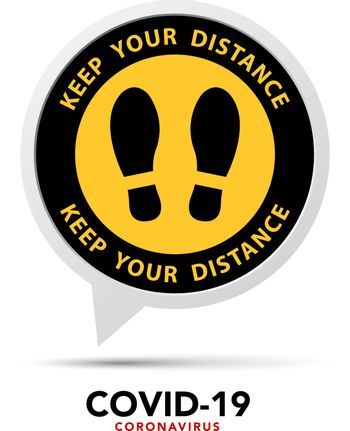 Social distancing banner. Please wait here.sign.Vector eps10