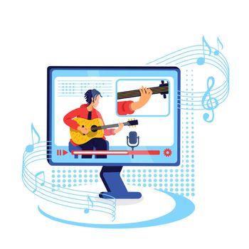 Internet guitar tutorial flat concept vector illustration