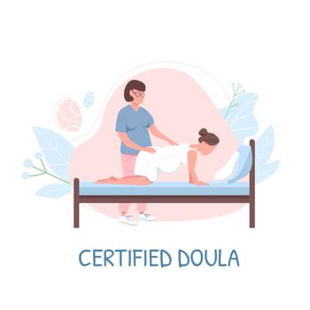Midwife for childbirth flat color vector faceless character. Certified doula phrase. Childbearing woman. Alternative childbirth isolated cartoon illustration for web graphic design and animation