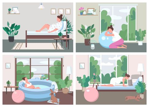 Place for childbirth at home flat color vector illustration set. Training for alternative birth. Prenatal exercise. Pregnant female 2D cartoon characters with interior on background collection