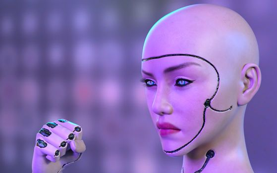 Female robot face and hand - 3d rendering
