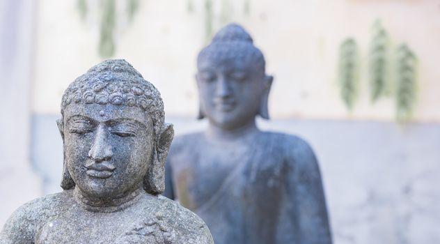 Buddha statue sculpture, buddhism culture background with two buddha statue sculpture