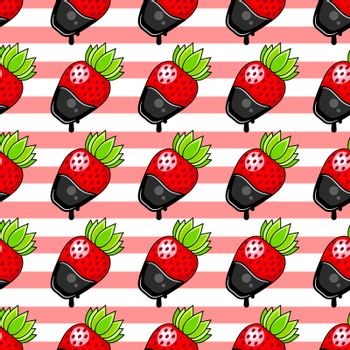 Seamless chocolate strawberries pattern Vector Illustration Suitable For Greeting Card, Poster Or T-shirt Printing.