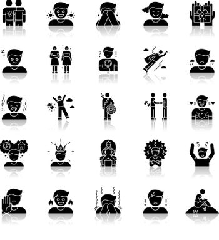 Human feelings drop shadow black glyph icons set