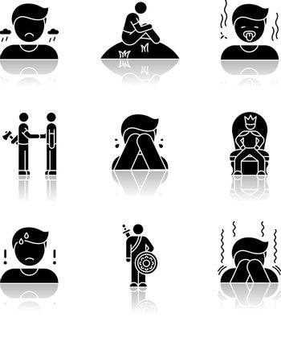 Negative feelings drop shadow black glyph icons set