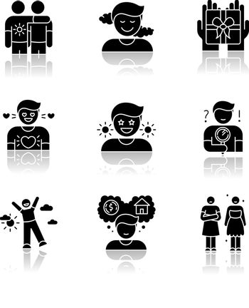 Feelings and emotions drop shadow black glyph icons set