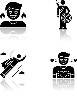 Good feelings and qualities drop shadow black glyph icons set