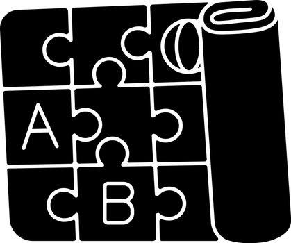 Play mat black glyph icon. Foldable foam mat. Alphabet interlocking playmat. Activity floor. Gross motor skills development toys. Silhouette symbol on white space. Vector isolated illustration