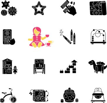 Childhood toys black glyph icons set on white space