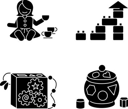Sensory toys for toddlers black glyph icons set on white space. Baby doll with tea set. Educational toys for children early development. Silhouette symbols. Vector isolated illustration