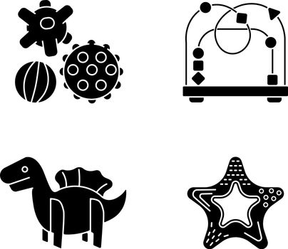 Children sensory toys black glyph icons set on white space. Textured balls and bead maze. Fine and gross motor skills. Early childhood development. Silhouette symbols. Vector isolated illustration