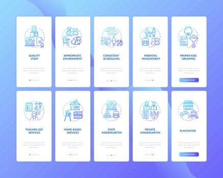 Toddlers education centers types and features onboarding mobile app page screen with concepts set. Walkthrough 5 steps graphic instructions. UI vector template with RGB color illustrations