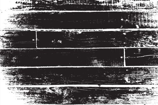 Distressed grainy wood overlay texture. Grunge wooden planks messy background. Dirty rustic empty cover template. Rural fence wall backdrop. Weathered aging design element. EPS10 vector.