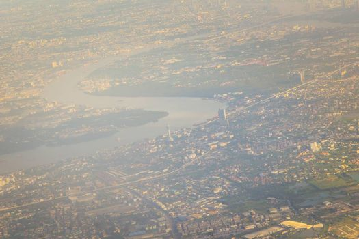 Aerial view from the airplane of Samut Prakan city. Samut Prakan is at the mouth of the Chao Phraya River on Gulf of Thailand.