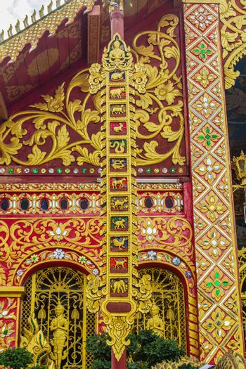 Beautiful art, religious places and religious objects of Wat Jedyod, Chiang Rai, Thailand. Wat Chet Yot is a temple that has been renovated from the remains of an ancient temple.