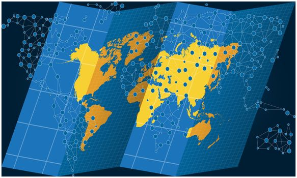 world map on treasure hunt with dots on abstract backgrounds