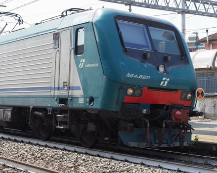 COLLEGNO, ITALY - CIRCA AUGUST 2019: Train at Collegno railway station