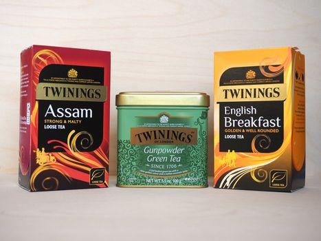 LONDON - CIRCA MARCH 2020: Twinings tea packets