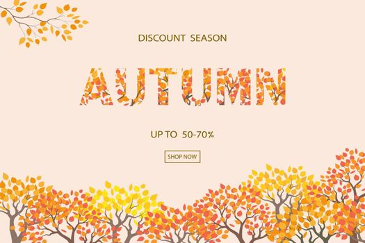 Autumn or Fall background,discount season with text for shopping promotion,banner,poster,flyer or website,vector illustration