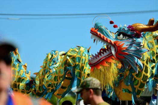 A Chinese dragon; Chinese New Year celebration