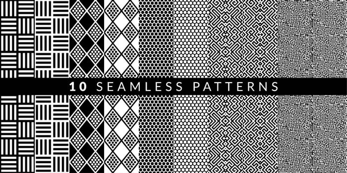 Ten Abstract Geometric Patterns Set. Vector illustration. Vector illustration