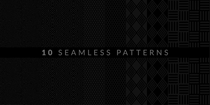 Dark Black And Grey Ten Geometric Patterns Set. Vector illustration